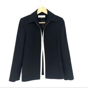 TAHARI Black Career blazer jacket white trim 4